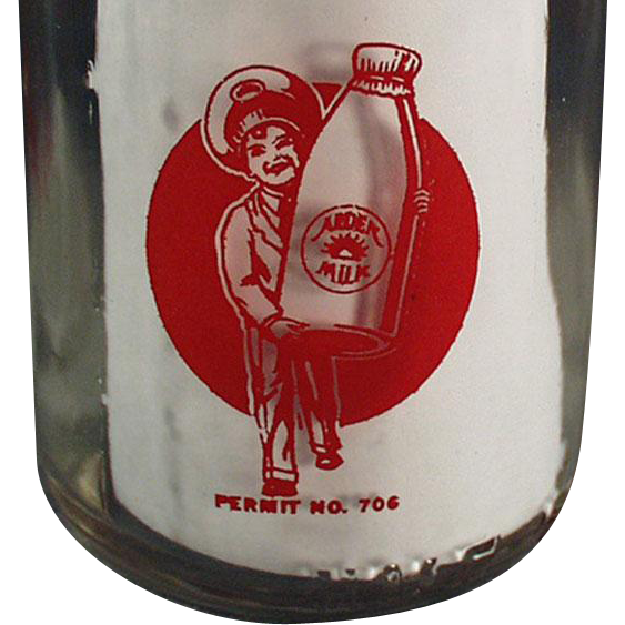 Vintage, Half Pint Milk Bottle w- Pyroglazed Advertising - Arden Farms
