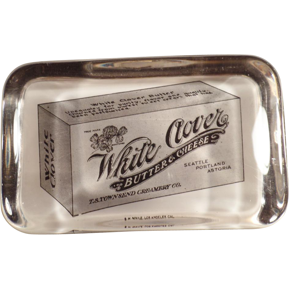 Vintage, Glass Paperweight - White Clover Advertising