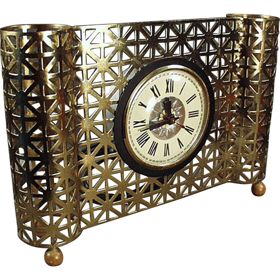 Vintage, Electric Table Clock With Metal Lattice - ca 1950's