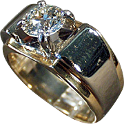 Vintage, Estate Ring - 14k Gold & Palladium, Man's Diamond Ring - 1.85 Carat