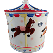 Vintage Cookie Jar with Carousel Horses - Cookie-Go-Round