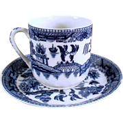 Vintage Flow Blue - Demitasse Cup & Saucer with Geisha Lithophane