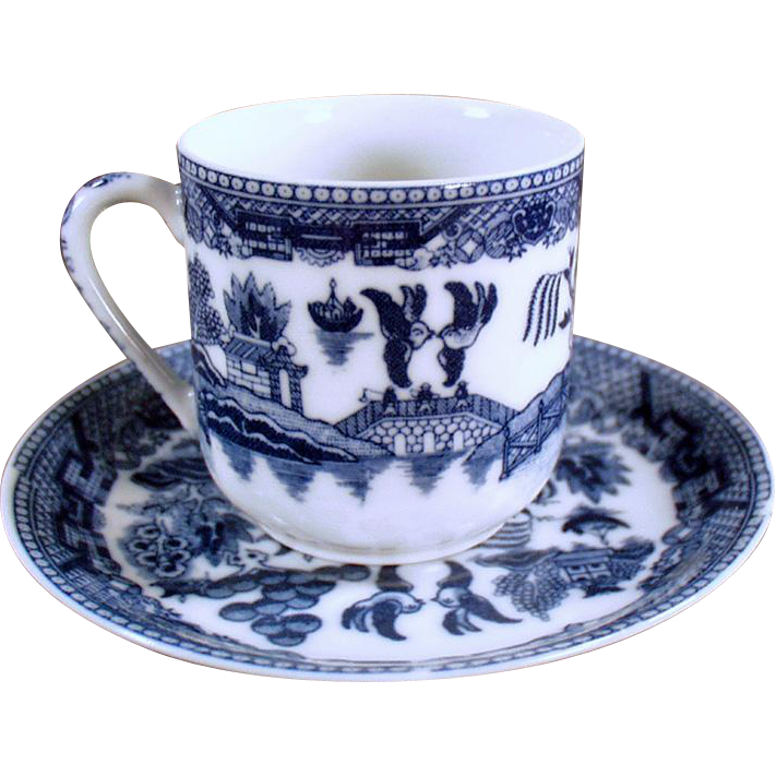 Vintage Flow Blue - Demitasse Cup & Saucer with Geisha Lithophane