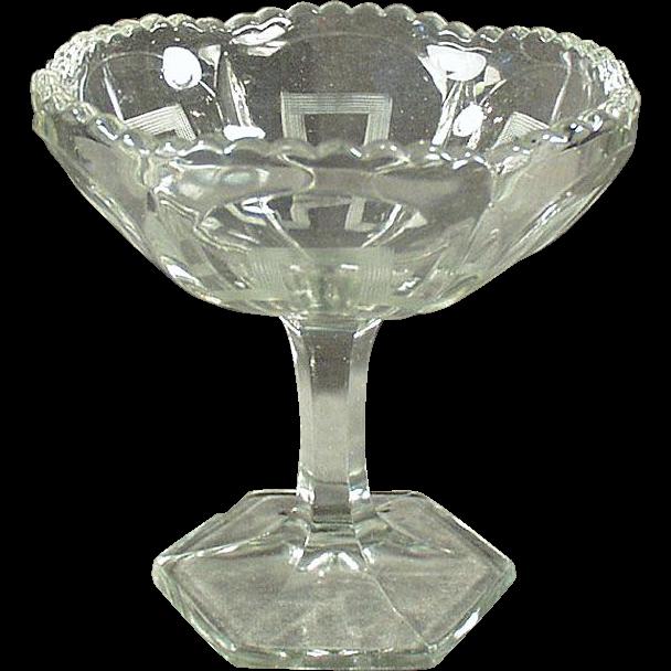Vintage Glass Compote Dish - Greek Key Design