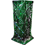 Vintage Glass Straw Holder - Illinois Pattern in Green