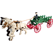 Vintage, Kenton Cast Iron Toy - Horse Drawn Stake Wagon