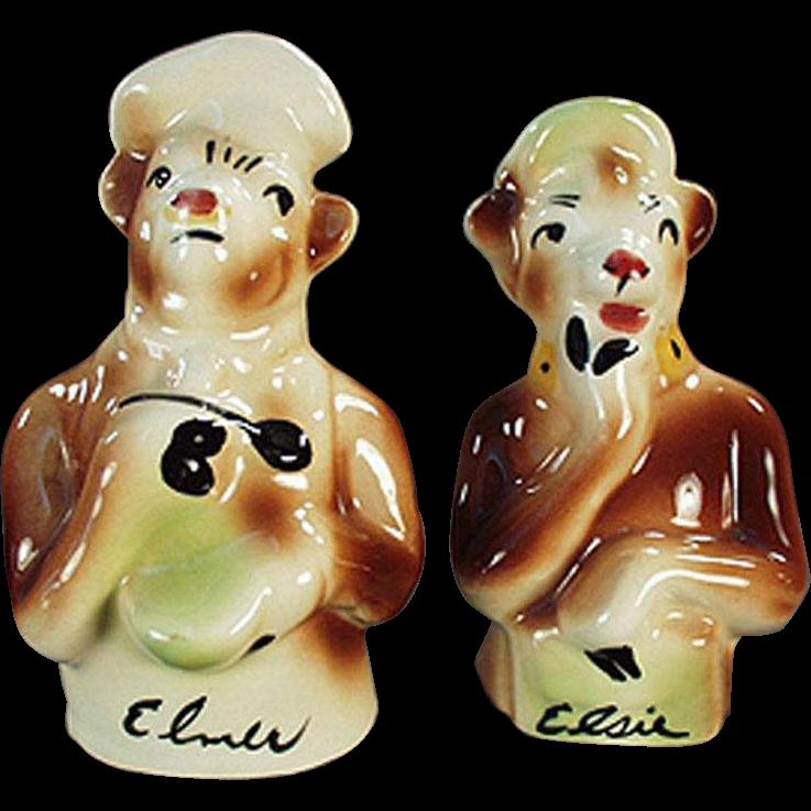 Vintage, Elsie & Elmer Salt & Pepper Set - Borden's Famous Cows