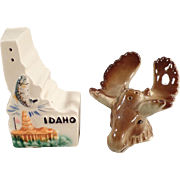 Vintage Idaho Souvenir - Salt and Pepper Set with Moose