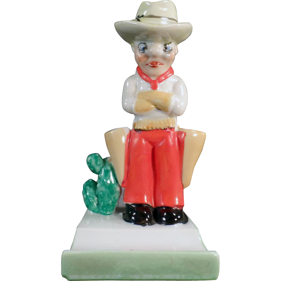 Vintage Toothbrush Holder - Grumpy Cowboy with Large Holsters