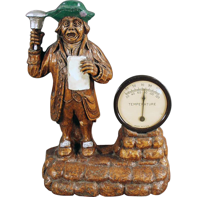 Vintage Desk Thermometer with Town Crier Figure
