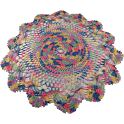 Vintage, Crocheted, Doily in Multicolored Thread