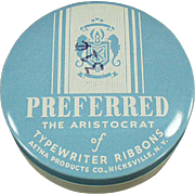 Vintage Typewriter Ribbon Tin -  Preferred Brand in Baby Blue