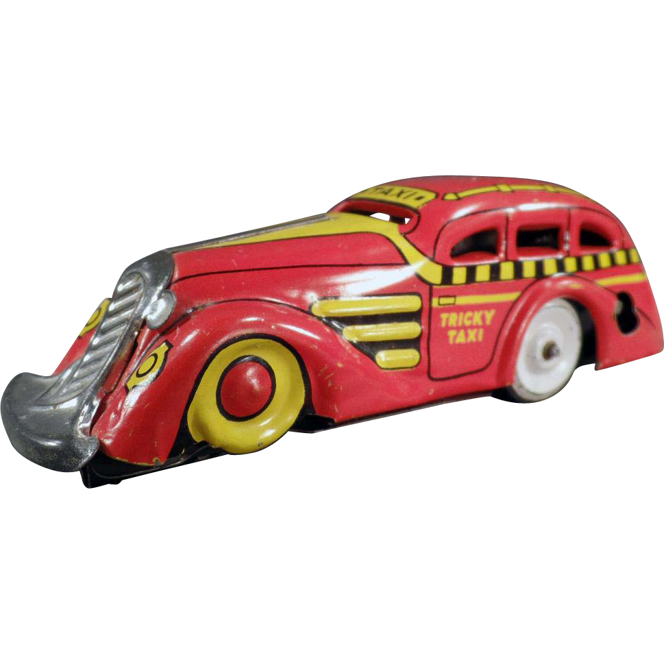 Vintage, Marx Tricky Taxi, Wind Up Car - Nice Color Combination