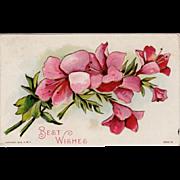 Vintage Floral Postcard with Embossed Design - Best Wishes
