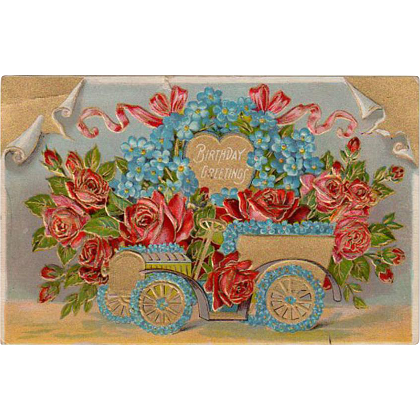 Vintage Birthday Postcard with an Old Car Full of Flowers