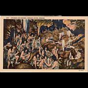 Vintage Souvenir Postcard - Oregon Caves with Cavemen and Women