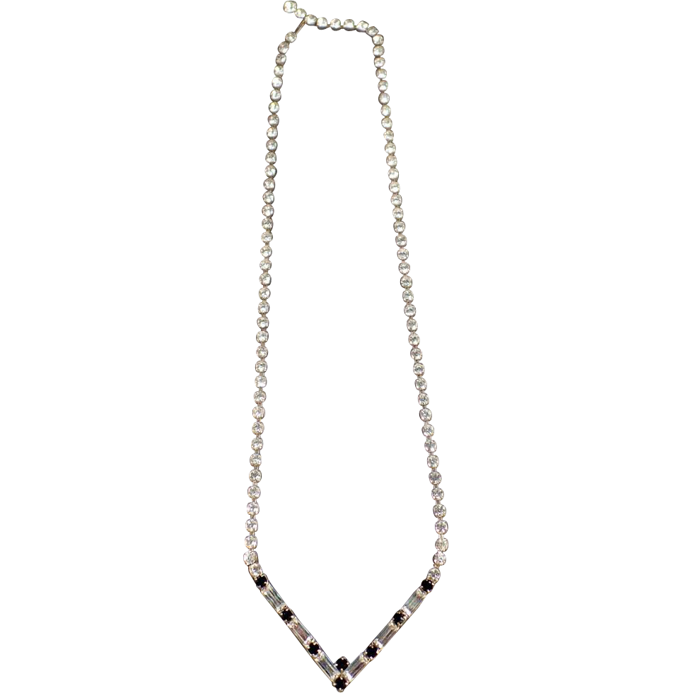 Vintage, Single Strand Rhinestone Necklace with Baguette Shapes