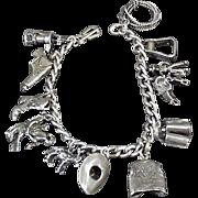 Vintage, Sterling Silver Charm Bracelet - Western Motif