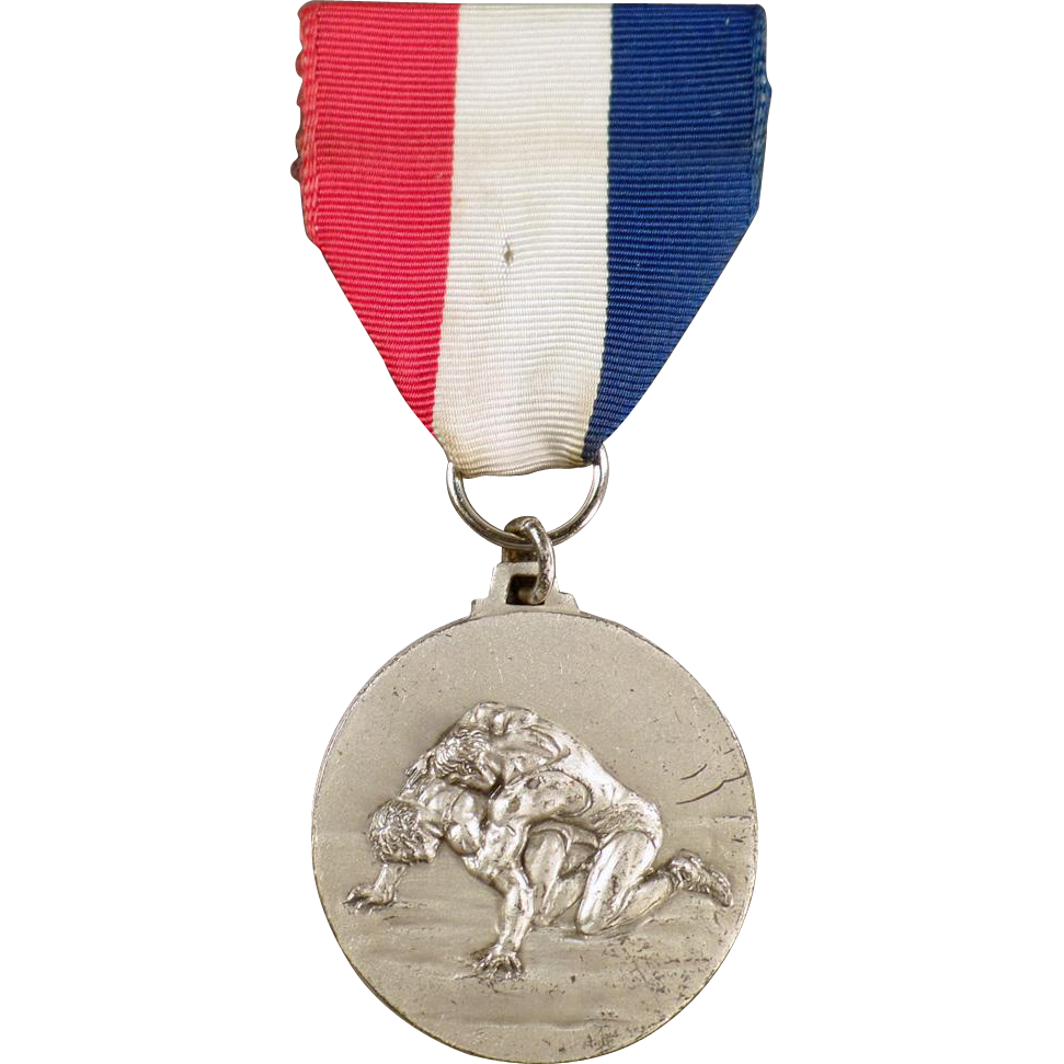 Vintage, Wrestling Sports Medal with Original Ribbon