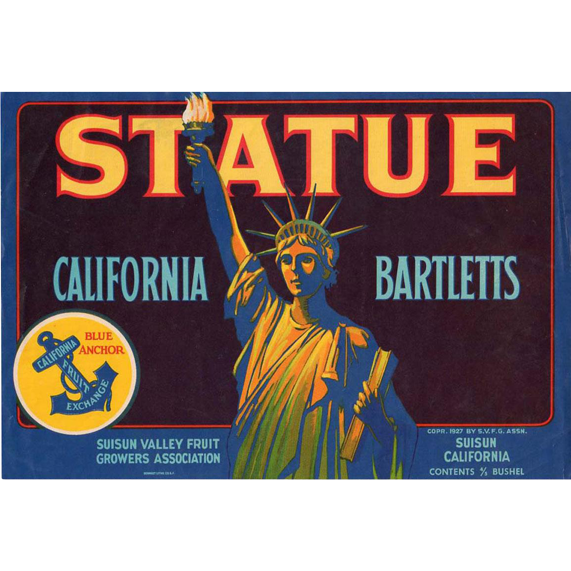 Vintage Fruit Crate Label - Statue of Liberty Graphics