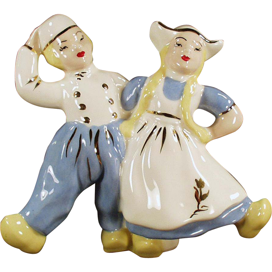 Vintage Pottery Planter - Dancing Dutch Boy & Girl