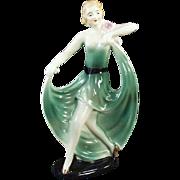 Vintage Porcelain Figurine - Girl in a Flared Green Dress