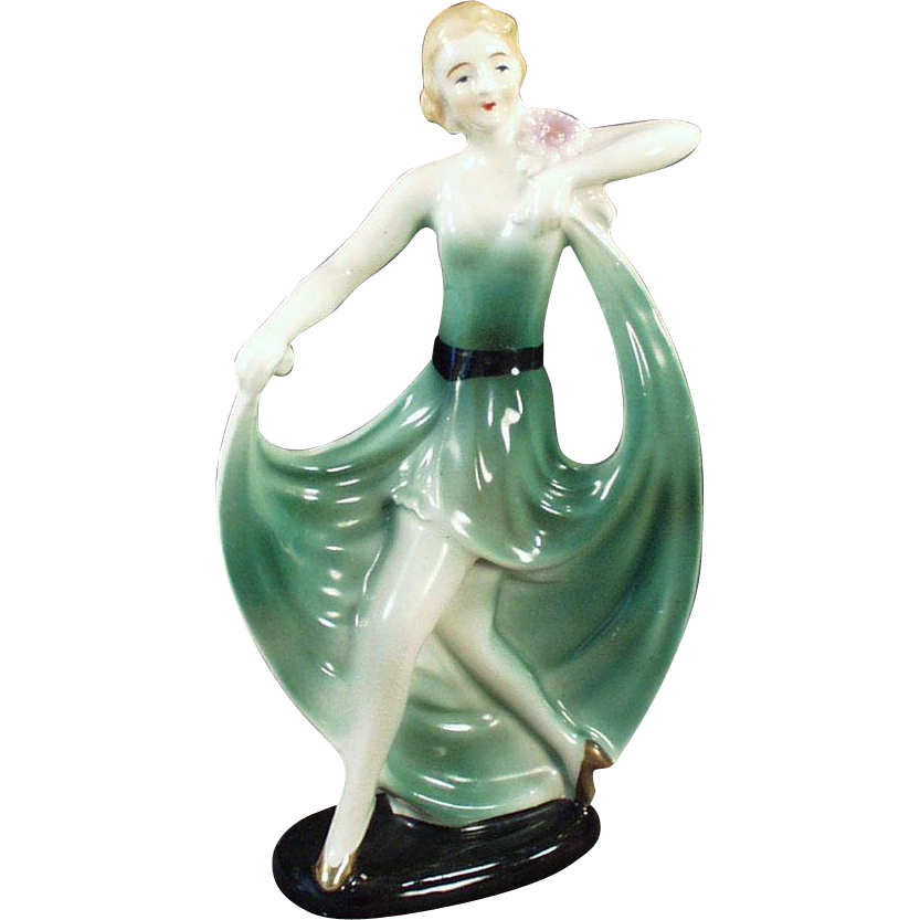 Vintage Porcelain Figurine - Girl in a Flared Green Dress