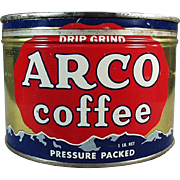Vintage Coffee Tin - Arco - One Pound, Key Wind
