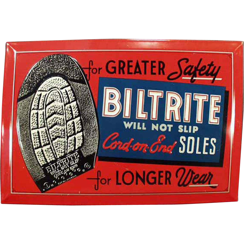 Vintage, Self Framed Tin Sign Advertising Biltrite Soles for Shoes