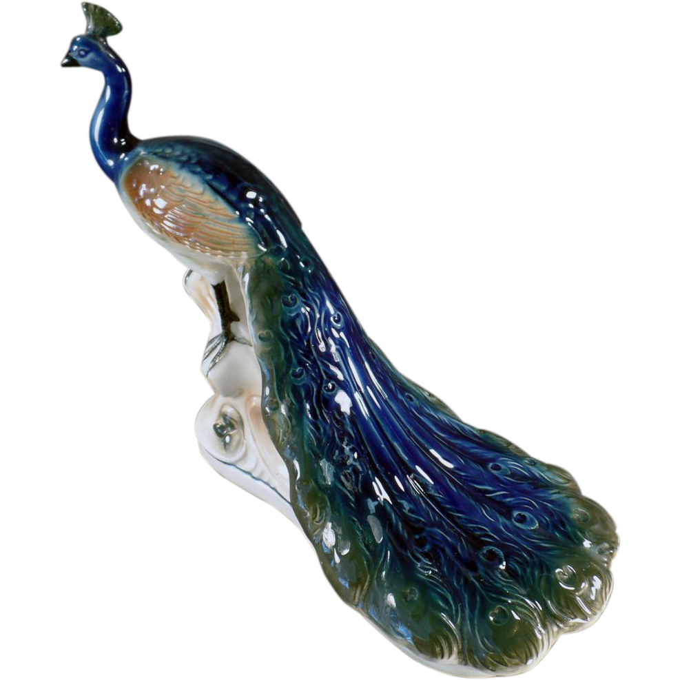 Vintage Peacock Figurine - German Porcelain