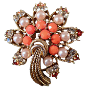 Vintage, Costume Jewelry Brooch with Rhinestones & Faux Coral & Pearls