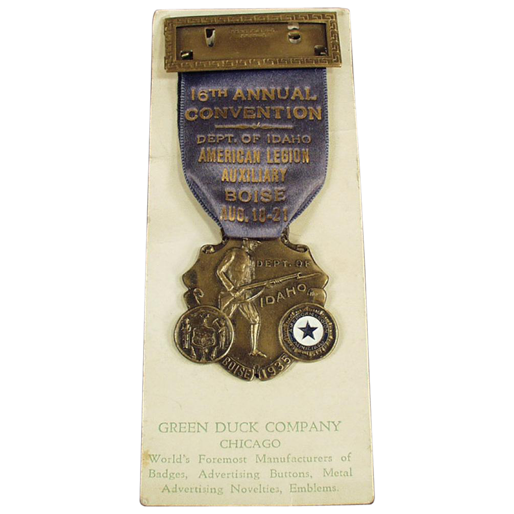 Vintage, American Legion Auxiliary Medal with Original Ribbon - 1935