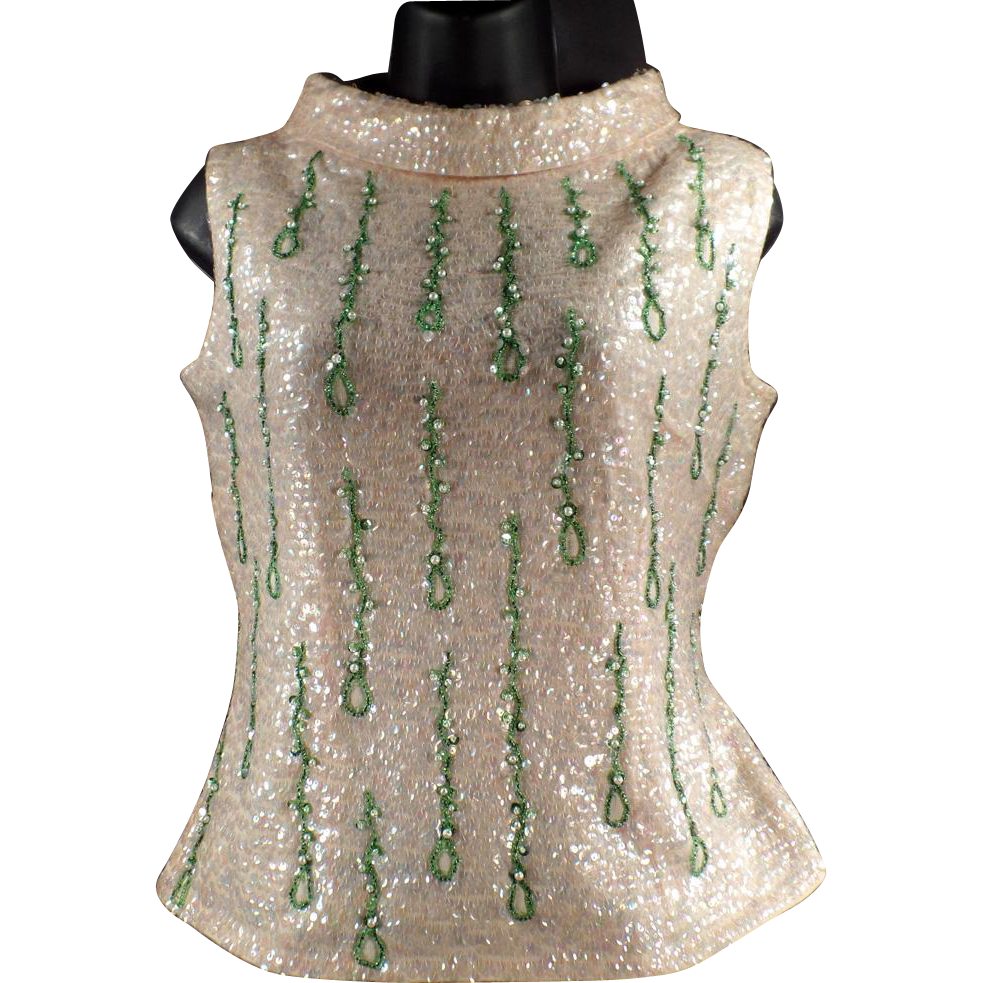 Ladies, Vintage, Beaded and Sequined Shell Top - 1960's