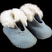 Vintage Baby Shoes/Booties - Blue Felt with Fur Trim