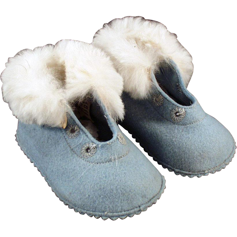 Vintage Baby Shoes/Booties - Blue Felt with Fur Trim
