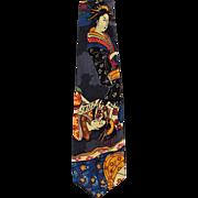 Vintage Necktie with Oriental Geishas - Wide Styl