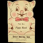 Vintage, Cardboard Dime Saver - Piggy Bank
