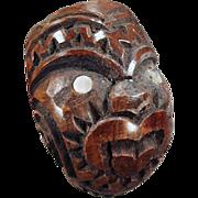 Vintage, Carved Wood, Smoking Pipe - Tiki Face Design