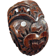 Vintage, Carved Wood, Smoking Pipe - Tiki Face Design