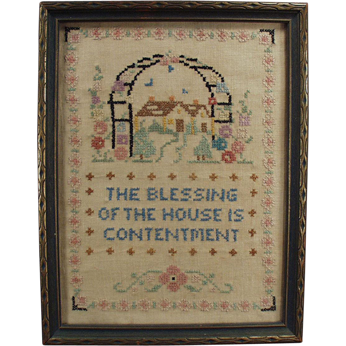 Vintage, Framed, Cross Stitch - House Blessing