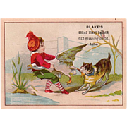 Vintage Trade Card - Cute Tug-o-War Scene