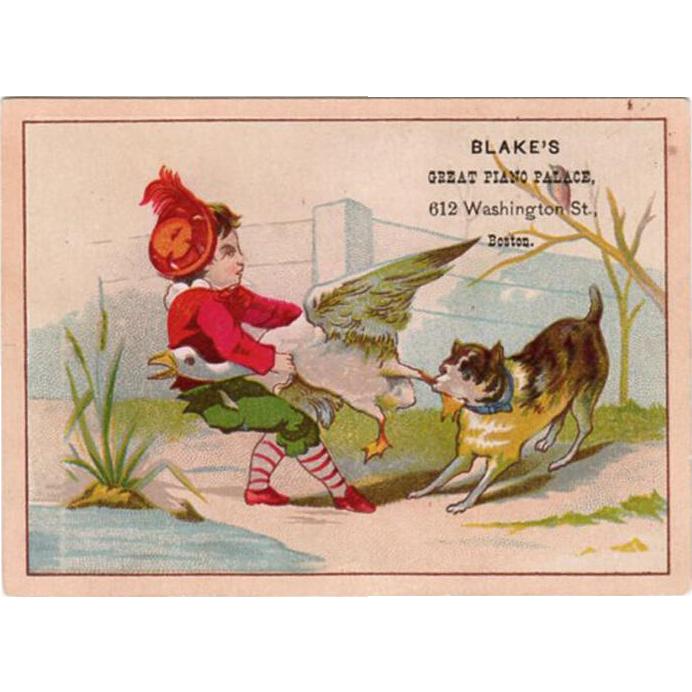 Vintage Trade Card - Cute Tug-o-War Scene