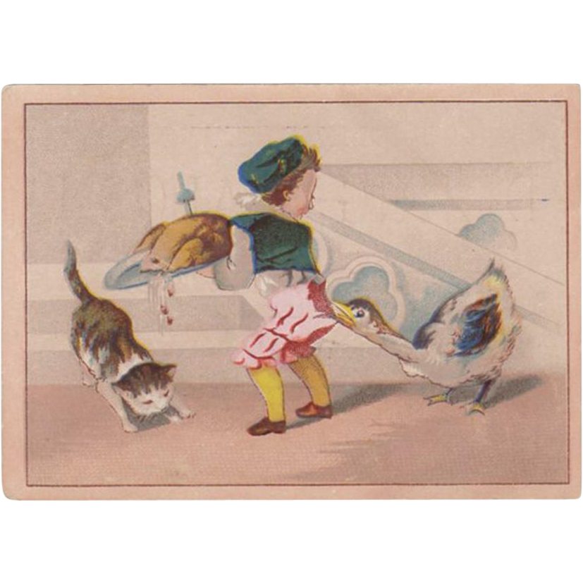 Vintage Trade Card - Moffitt's - Cute Thanksgiving Scene