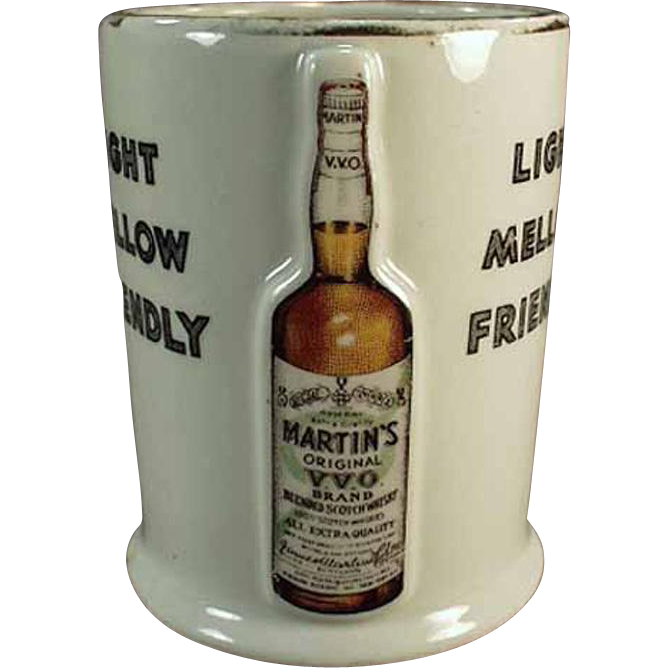 Vintage, Martin's Whiskey, Porcelain Advertising Cup