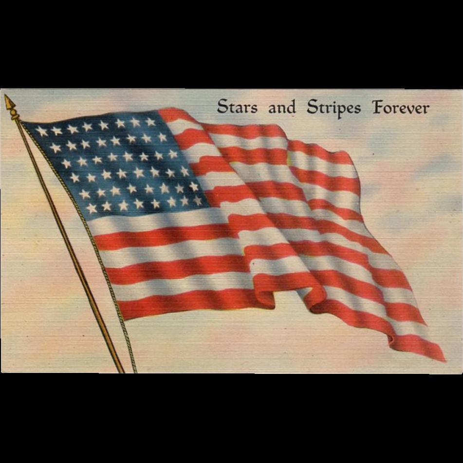 Vintage, Patriotic Postcard - The American Flag