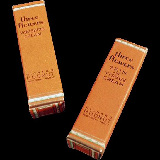 Vintage, Richard Hudnut, Three Flowers, Miniature Boxes