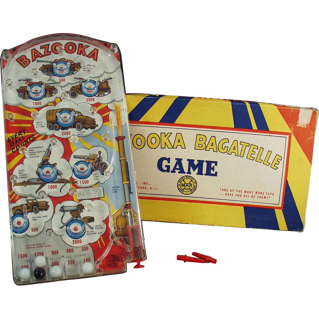 Vintage, Marx Bazooka Bagatelle Marble Game with Original Box