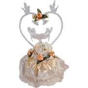 Vintage, Blown Glass, Wedding Cake Topper with Love Birds & Bells