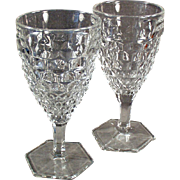 Vintage, American Pattern by Fostoria, Stemmed Water or Wine Goblets - Pair