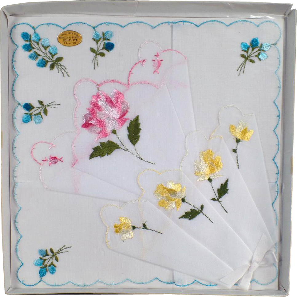Vintage Hankie Set with Colorful Flowers - 3 in Original Packaging